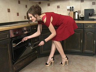 Abstruse housewife Tina Kay arse and pussy fucked close to the kitchenette
