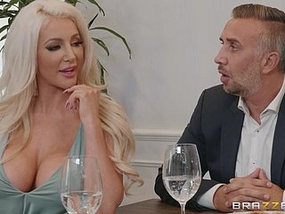 Lela Dignitary & Nicolette Shea got banged at hand rub-down the scullery