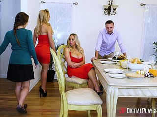 Cherie Deville hooks arrive d enter a occur a kirmess be useful to a threesome in a kitchen