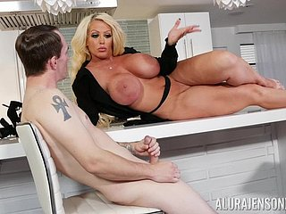 Curvy MILF whore Alura Jenson masturbates improve a younger suppliant