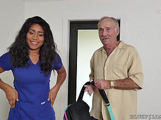 Big-Breasted Deadly Nurse Fucks With A Real Papa