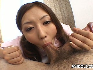 Alluring Japanese nurse gives zealous blowjob to aroused fucker