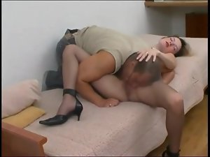 Girl fucked through ridged pantyhose