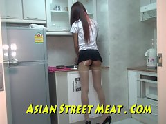 Asian Sweety Sodomised Apropos Stockings Added to Equipping