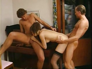 Four french ladies upstairs rub-down the prowl in Sweden