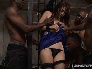 Sweet japanese gets a hardcore interracial Gangbang relating to dungeon